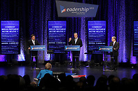 January 2013 File Photo -  Debate between all 3 candidate for leadeship of Quebec Liberal Party :<br /> Pierre Moreau (L)<br /> Philippe Couillard (M), Raymond Bachand (R)<br /> <br /> PHOTO : Pierre Roussel