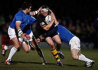 Photo: Richard Lane/Richard Lane Photography. London Wasps v Leinster Rugby. Amlin Challenge Cup Quarter Final. 05/04/2013. Wasps' Tom Lindsay attacks.