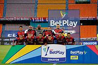 MEDELLIN - COLOMBIA, 17-02-2021: Jugadores del Medellín posan para una foto previo al partido por la fecha 7 entre Deportivo Independiente Medellín y Boyacá Chicó F.C. como parte de la Liga BetPlay DIMAYOR I 2021 jugado en el estadio Atanasio Girardot de la ciudad de Medellín. / Players of Medellin pose to a photo prior Match for the date 7 between Deportivo Independiente Medellin and Boyaca Chico F.C. as part of the BetPlay DIMAYOR League I 2021 played at Atanasio Girardot stadium in Medellin city. Photo: VizzorImage / Donaldo Zuluaga / Cont