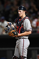 Catcher Alan Crowley (27) of the Rome Braves in a game against the Columbia Fireflies on Monday, July 3, 2017, at Spirit Communications Park in Columbia, South Carolina. Columbia won, 1-0. (Tom Priddy/Four Seam Images)