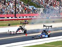 May 6, 2018; Commerce, GA, USA; NHRA top fuel driver Steve Torrence (left) races alongside Blake Alexander during the Southern Nationals at Atlanta Dragway. Mandatory Credit: Mark J. Rebilas-USA TODAY Sports