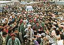 Iraq 1992 <br /> Crowd of supporters welcoming Masoud Barzani in Duhok during the election campaign, right to the candidate Fazel Mirani  <br /> Irak 1992 <br /> La foule de sympathisants dans les rues de Dohok accueillant Masoud Barzani lors de sa campagne electorale. A droite du candidat, Fazel Mirani