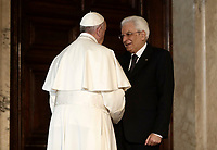 Pope Francis speaks with Italian President Sergio Mattarella (r) during their meeting at the Quirinale presidential palace in Rome,on June 10, 2017.<br /> UPDATE IMAGES PRESS/Isabella Bonotto<br /> STRICTLY ONLY FOR EDITORIAL USE