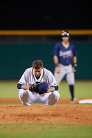 Montgomery Biscuits relief pitcher Kyle Bird (17) takes a moment behind the mound during a game against the Mississippi Braves on April 24, 2017 at Montgomery Riverwalk Stadium in Montgomery, Alabama.  Montgomery defeated Mississippi 3-2.  (Mike Janes/Four Seam Images)
