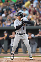 Left fielder Dalton Blaser (9) of the Charleston RiverDogs bats in a game against the Columbia Fireflies on Friday, June 9, 2017, at Spirit Communications Park in Columbia, South Carolina. Columbia won, 3-1. (Tom Priddy/Four Seam Images)