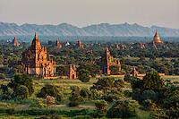 Myanmar, Burma, Bagan.  Temples in Early Morning Sunlight.