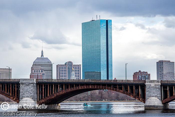 The Longfellow Bridge spans the Charles River between Cambridge and Boston, Massachusetts, USA