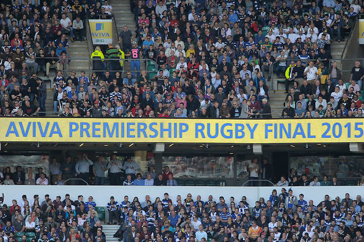 General view of fans during the Aviva Premiership Rugby Final between Bath Rugby and Saracens at Twickenham Stadium on Saturday 30th May 2015 (Photo by Rob Munro)