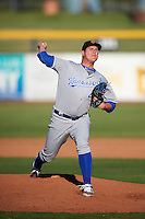 Surprise Saguaros pitcher Jake Newberry (49), of the Kansas City Royals organization, during a game against the Peoria Javelinas on October 12, 2016 at Peoria Stadium in Peoria, Arizona.  The game ended in a 7-7 tie after eleven innings.  (Mike Janes/Four Seam Images)