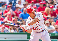 30 August 2015: Washington Nationals catcher Wilson Ramos in action against the Miami Marlins at Nationals Park in Washington, DC. The Nationals rallied to defeat the Marlins 7-4 in the third game of their 3-game weekend series. Mandatory Credit: Ed Wolfstein Photo *** RAW (NEF) Image File Available ***
