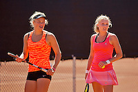August 9, 2014, Netherlands, Rotterdam, TV Victoria, Tennis, National Junior Championships, NJK, Final girls doubles16 years: Dewi Dijkman and Anabelle Hageman  (NED)<br /> Photo: Tennisimages/Henk Koster