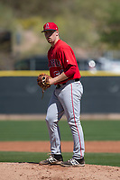 Los Angeles Angels relief pitcher Zach Ryan (51) during a Minor League Spring Training game against the Colorado Rockies at Tempe Diablo Stadium Complex on March 18, 2018 in Tempe, Arizona. (Zachary Lucy/Four Seam Images)