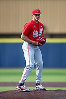 Ohio State Buckeyes pitcher Seth Lonsway (11) during NCAA baseball action against the Michigan Wolverines on April 10, 2021 at Ray Fisher Stadium in Ann Arbor, Michigan. The Wolverines defeated the Buckeyes 7-0. (Andrew Woolley/Four Seam Images)