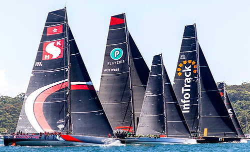 The hundred footers make their start in the Rolex Sydney-Hobart Race. Until the pandemic struck, three of them had hoped to be racing in European waters this summer. Photo: Rolex/Carlo Borlenghi