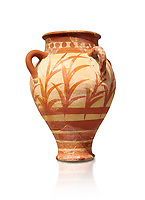 Minoan clay pot decorted with a floral design , Knossos Palace 1500-1450 BC BC, Heraklion Archaeological  Museum.