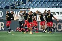 FOXBOROUGH, UNITED STATES - AUGUST 20: Players on both teams wear Black Lives Matter shirts during warmup during a game between Philadelphia Union and New England Revolution at Gilette on August 20, 2020 in Foxborough, Massachusetts.