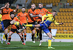 St Johnstone v Dundee United…10.11.20   McDiarmid Park      BetFred Cup<br />Liam Gordon loses out to Mark Reynolds<br />Picture by Graeme Hart.<br />Copyright Perthshire Picture Agency<br />Tel: 01738 623350  Mobile: 07990 594431