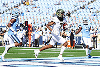 CHAPEL HILL, NC - NOVEMBER 14: Donavon Greene #7 of Wake Forest scores a touchdown on a 17 yard pass play during a game between Wake Forest and North Carolina at Kenan Memorial Stadium on November 14, 2020 in Chapel Hill, North Carolina.