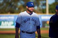 Dunedin Blue Jays manager John Schneider (14) during introductions before a game against the Clearwater Threshers on April 8, 2017 at Florida Auto Exchange Stadium in Dunedin, Florida.  Dunedin defeated Clearwater 12-6.  (Mike Janes/Four Seam Images)