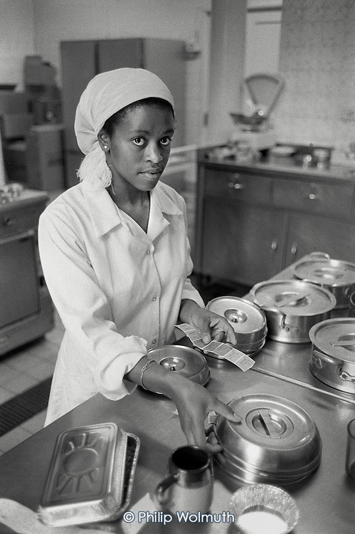 Catering worker in the kitchen of St.Mary's Hospital, Harrow Road.