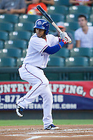 Round Rock Express shortstop Leury Garcia (6) at bat against the Iowa Cubs in the Pacific Coast League baseball game on July 21, 2013 at the Dell Diamond in Round Rock, Texas. Round Rock defeated Iowa 3-0. (Andrew Woolley/Four Seam Images)