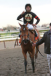 Awesome Feather with Jeffrey Sanchez aboard easily win the Grade I Gazelle Stakes for 3-year old fillies, 1 1/8 mile at Aqueduct Racetrack. Trainer Chad Brown. Owner Stronach Stables.