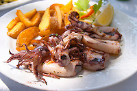 A dish with fried calamares calamari, octopus, ink fish. With chips, French fries, fried potatoes. Hotel and restaurant Kompas. Uvala Sumartin bay between Babin Kuk and Lapad peninsulas. Dubrovnik, new city. Dalmatian Coast, Croatia, Europe.