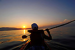 Mit dem Kanu auf Erkundungstour der Kueste nahe Glavotok; with the canoe discovering the coast around Glavotok, Krk Island, Dalmatia, Croatia. Insel Krk, Dalmatien, Kroatien. Krk is a Croatian island in the northern Adriatic Sea, located near Rijeka in the Bay of Kvarner and part of the Primorje-Gorski Kotar county. Krk ist mit 405,22 qkm nach Cres die zweitgroesste Insel in der Adria. Sie gehoert zu Kroatien und liegt in der Kvarner-Bucht suedoestlich von Rijeka.