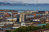 Pictured: The BT building in the city centre of Swansea with part of the SA1 development and the dock area immediately behind and Port Talbot in the far distance. Wednesday 22 May 2019<br /> Re: General view of Swansea, Wales, UK