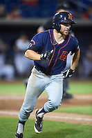 Bowing Green Hot Rods designated hitter Brett Sullivan (8) runs to first base during a game against the Quad Cities River Bandits on July 24, 2016 at Modern Woodmen Park in Davenport, Iowa.  Quad Cities defeated Bowling Green 6-5.  (Mike Janes/Four Seam Images)