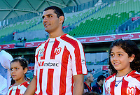 MELBOURNE, AUSTRALIA - FEBRUARY 12: John Aloisi enters the arena in his final game in his career in the round 27 A-League match between the Melbourne Heart and Sydney FC at AAMI Park on February 12, 2011 in Melbourne, Australia. (Photo Sydney Low / AsteriskImages.com)