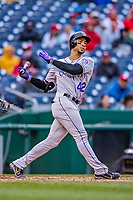 15 April 2018: Colorado Rockies outfielder Carlos Gonzalez at bat against the Washington Nationals at Nationals Park in Washington, DC. All MLB players wore Number 42 to commemorate the life of Jackie Robinson and to celebrate Black Heritage Day in pro baseball. The Rockies edged out the Nationals 6-5 to take the final game of their 4-game series. Mandatory Credit: Ed Wolfstein Photo *** RAW (NEF) Image File Available ***