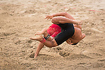 Wrestlers compete during the Beach Wrestling Men's competition between Vietnam and Kyrgyzstan on Day Eight of the 5th Asian Beach Games 2016 at Bien Dong Park on 01 October 2016, in Danang, Vietnam. Photo by Marcio Machado / Power Sport Images