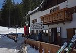 Malga Grogifisso restaurant, Ciampac Ski Area, Dolomites, Canazei, Italy,