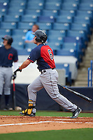Joe Rizzo (6) Oakton High School in Oak Hill, Virginia hits a home run playing for the Cleveland Indians scout team during the East Coast Pro Showcase on July 28, 2015 at George M. Steinbrenner Field in Tampa, Florida.  (Mike Janes/Four Seam Images)