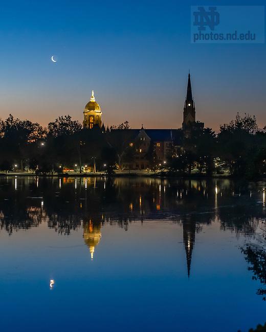 June 18, 2020; Sunrise with a rising crescent moon (Photo by Matt Cashore/University of Notre Dame)