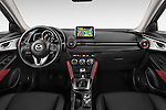 Stock photo of straight dashboard view of 2015 Mazda CX-3 Pure Edition 5 Door Suv Dashboard