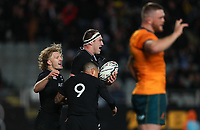NZ's Damien McKenzie congratulates Brodie Retallick on his try during the Bledisloe Cup rugby match between the New Zealand All Blacks and Australia Wallabies at Eden Park in Auckland, New Zealand on Saturday, 14 August 2021. Photo: Simon Watts / lintottphoto.co.nz / bwmedia.co.nz