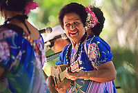 Hawaiian entertainer, Genoa Keawe, performs at Ka Hula Piko Festival, Moloka'i