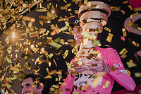 "Maglia Rosa / overall winner Chris Froome (GBR/SKY) on the final podium in Rome  with the enigmatic 'Trofeo Senza Fine' (""Never Ending Trophy"")<br /> <br /> stage 21: Roma - Roma (115km)<br /> 101th Giro d'Italia 2018"