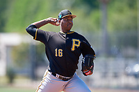 Pittsburgh Pirates pitcher Miguel Hernandez (16) during a Minor League Spring Training game against the Philadelphia Phillies on March 23, 2018 at the Carpenter Complex in Clearwater, Florida.  (Mike Janes/Four Seam Images)