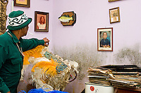 Noted Mardi Gras Indian Chief (Wild Magnolias, Golden Eagles) Monk Boudreaux visits his destroyed home in the city of New Orleans on November 23, 2005.