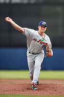 Fort Myers Miracle pitcher Tyler Duffey (31) delivers a pitch during a game against the Charlotte Stone Crabs on April 16, 2014 at Charlotte Sports Park in Port Charlotte, Florida.  Fort Myers defeated Charlotte 6-5.  (Mike Janes/Four Seam Images)