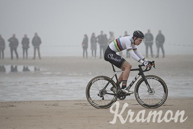 Wout van Aert (BEL/VerandasWillems-Crelan) leading the way along the belgian coast<br /> <br /> Belgian National CX Championships 2017