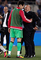 Calcio, finale Tim Cup: Milan vs Juventus. Roma, stadio Olimpico, 21 maggio 2016.<br /> Juventus' goalkeeper Gianluigi Buffon, left, is congratulated by CEO Giuseppe Marotta at the end of the Italian Cup final football match between AC Milan and Juventus at Rome's Olympic stadium, 21 May 2016. Juventus won 1-0 in the extra time.<br /> UPDATE IMAGES PRESS/Isabella Bonotto