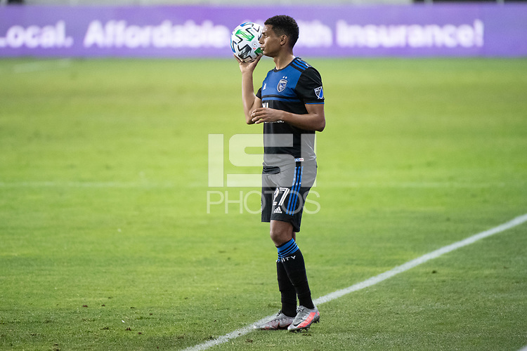 SAN JOSE, CA - NOVEMBER 04: Marcos Lopez #27 of the San Jose Earthquakes prepares for a throw in during a game between Los Angeles FC and San Jose Earthquakes at Earthquakes Stadium on November 04, 2020 in San Jose, California.