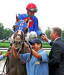 29 August 2009: Kocley Ken Desormeaux is congratualted by trainer Tim Ice after Desormeaux guided Summer Bird to a win in the Travers Stakes at Saratoga Race Track in Saratoga Springs, New York