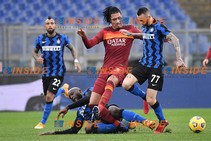 Chris Smalling of Roma, Romelu Lukaku and Marcelo Brozovic of Inter during the Serie A football match between AS Roma and FC Internazionale at Olimpico stadium in Roma (Italy), January 10th, 2021. Photo Andrea Staccioli / Insidefoto