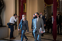 The Impeachment Managers, led by United States Representative Jamie Raskin (Democrat of Maryland) walk to the House chamber during a vote on H. Res. 24, Impeaching Donald John Trump, President of the United States, for high crimes and misdemeanors, at the U.S. Capitol in Washington, DC, Wednesday, January 13, 2021. Credit: Rod Lamkey / CNP /MediaPunch
