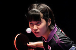 Miu Hirano of Japan in action against Ying Han of Germany at their Women's Singles Semi Final match during the Seamaster Qatar 2016 ITTF World Tour Grand Finals at the Ali Bin Hamad Al Attiya Arena on 10 December 2016, in Doha, Qatar. Photo by Victor Fraile / Power Sport Images